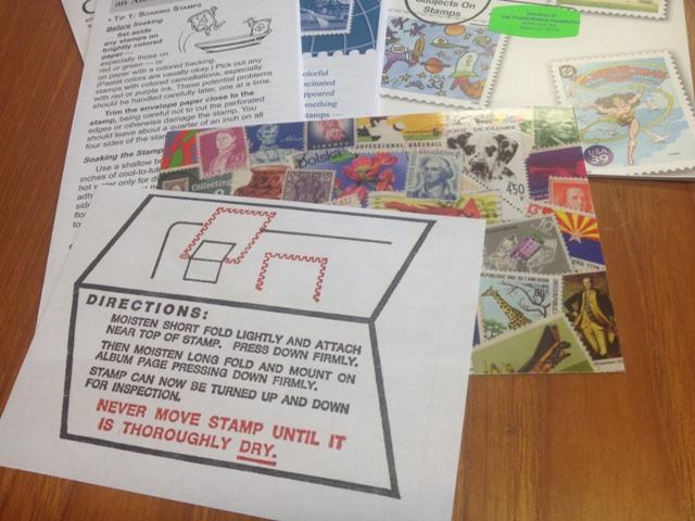 Mini stamp album, stamp information pamphlets, how to hinge