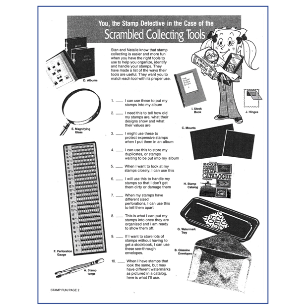 Stamp Detective Collecting Tools sheet