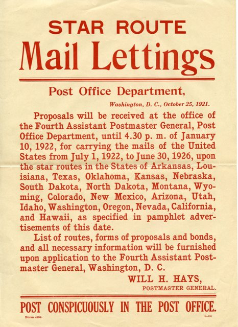 Star Routes: Early mail contractors