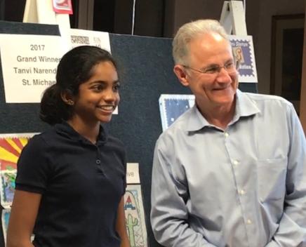 Tanvi Narendran and Mayor Jonathan Rothschild
